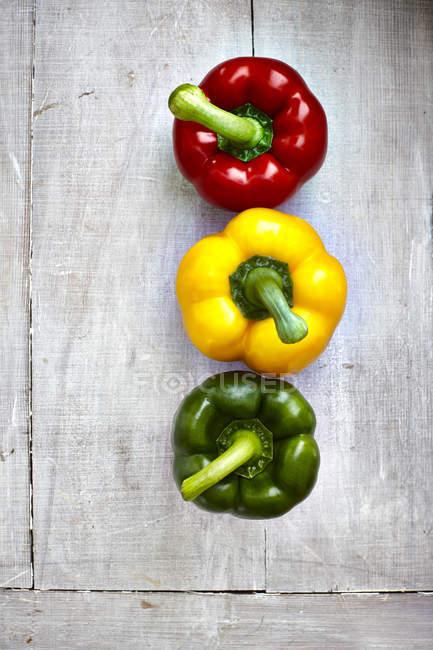 Tre freschi peperoni colorati su legno grigio — Foto stock