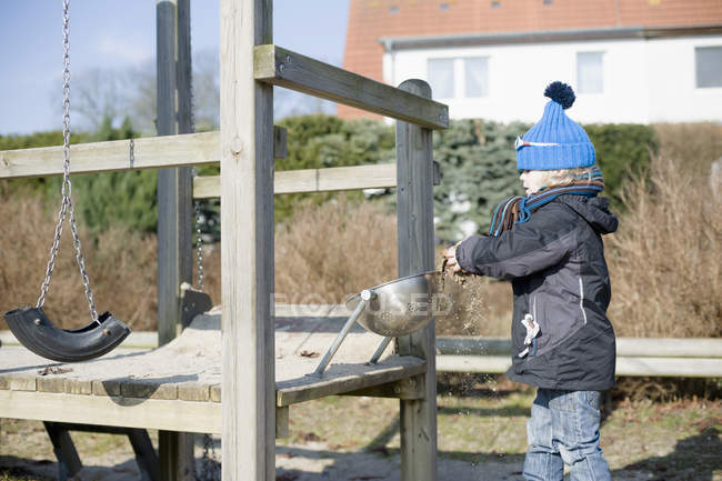 Little boy playing at playground — Stock Photo