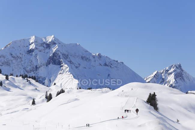Австрия, Форарльберг, Брегенц лес, вид Lechquellen горы, Hochtannberg перевал с Хохберга и Роторн горы — стоковое фото