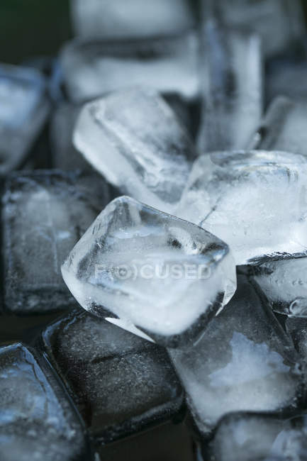 Heap of Clear Ice cubes, close-up — Stock Photo