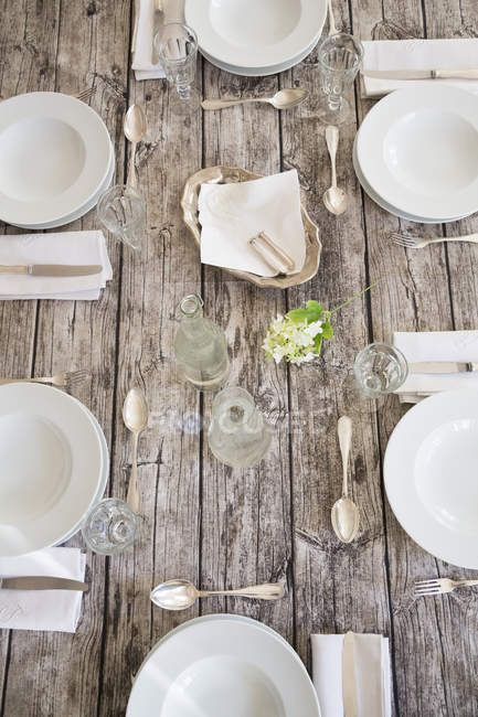 Festive laid table for six persons, partial view — Stock Photo