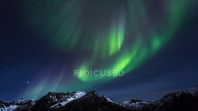 Luzes polares (aurora boreal) na Gimsoy, Lofoten, Noruega — Fotografia de Stock