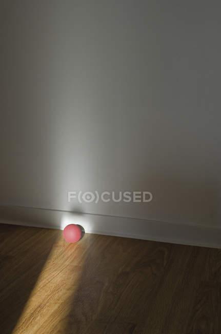 Pelota de goma rosa en piso de madera - foto de stock