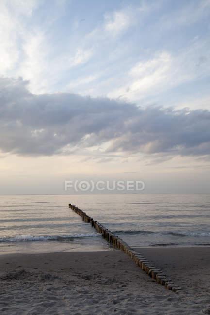 Germany, Mecklenburg-Western Pomerania, Graal-Mueritz, part of beach at evening light — Stock Photo