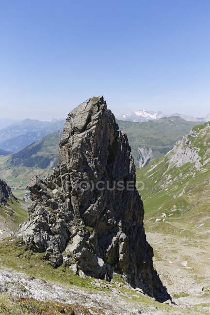 Schweiz, Graubünden, St Antonier Tal und Ratikon, anzeigen Fron Antonier Joch an der Grenze zu Österreich — Stockfoto