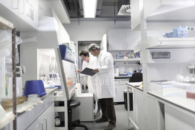 Scientists in laboratory discussing experiment — Stock Photo
