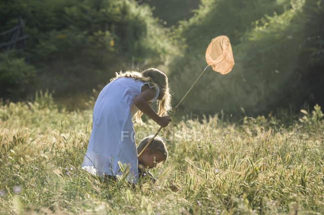 Двоє дітей з метелик чистий грає на луг — стокове фото