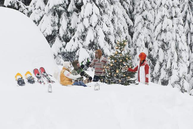 Men and women sitting next to christmas tree — Stock Photo