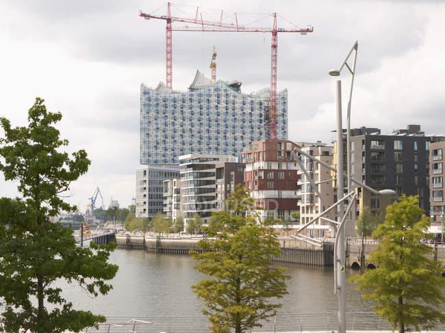 Німеччина, Гамбург, подання з Ельби філармонічний зал денний час — стокове фото