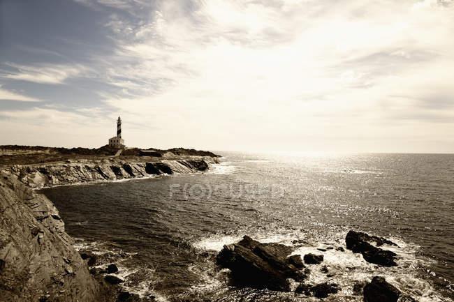 Маяк на Cap de Favaritx — стокове фото