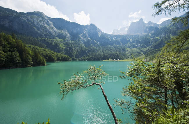 Австрія, Зальцбург County, вид з озера Hinterer Gosausee з гори — стокове фото