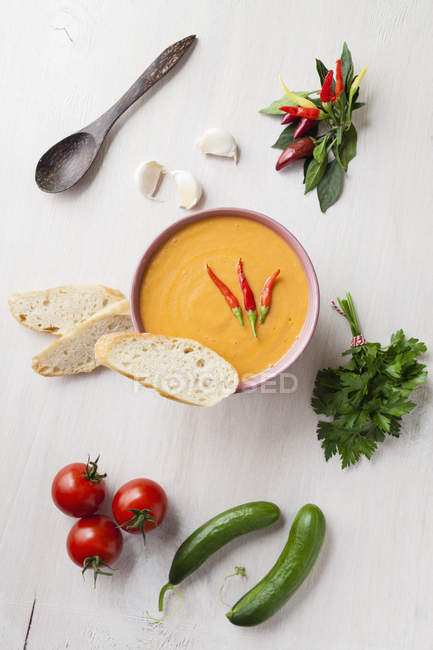 Bowl of gazpacho with bread — Stock Photo