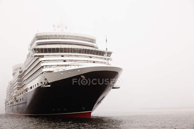 View of cruise ship at River Elbe at foggy weather — Stock Photo