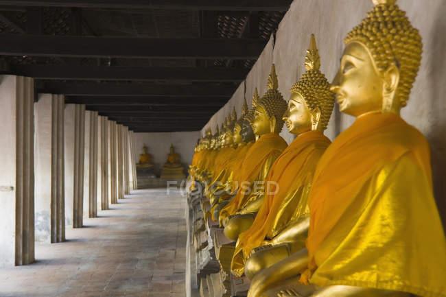 Thailand, Ayutthaya, Reihe von Buddha-Statuen im Tempel — Stockfoto