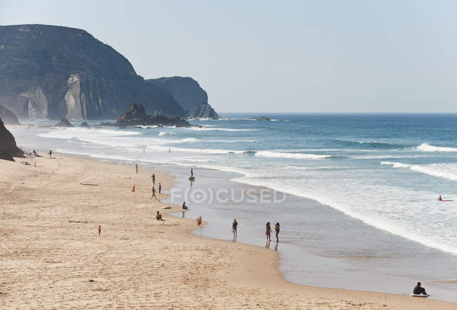 Sandy beach with cliff — Stock Photo