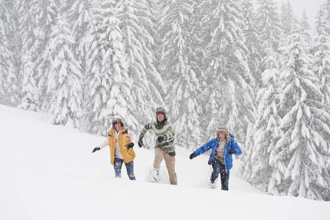 Молодих дорослих, проходячи через зимовий ліс у Зальцбурзі, Австрія — стокове фото