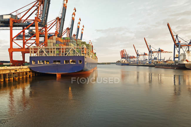 Germany, Hamburg, View of container harbour — Stock Photo