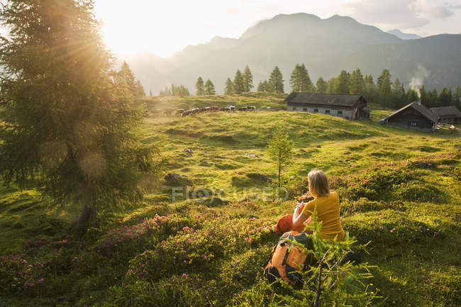 Austria, Salzburg County, Young woman sitting in alpine meadow and watching landscape — Stock Photo