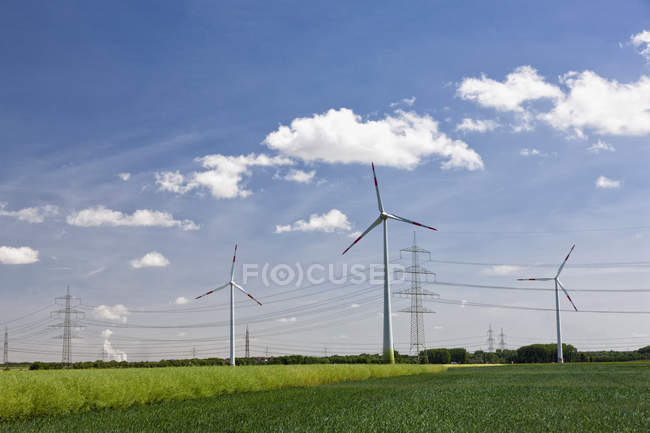 Wind turbine and electricity pylon — Stock Photo