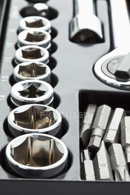 Jeu de clés à douille, gros plan — Photo de stock