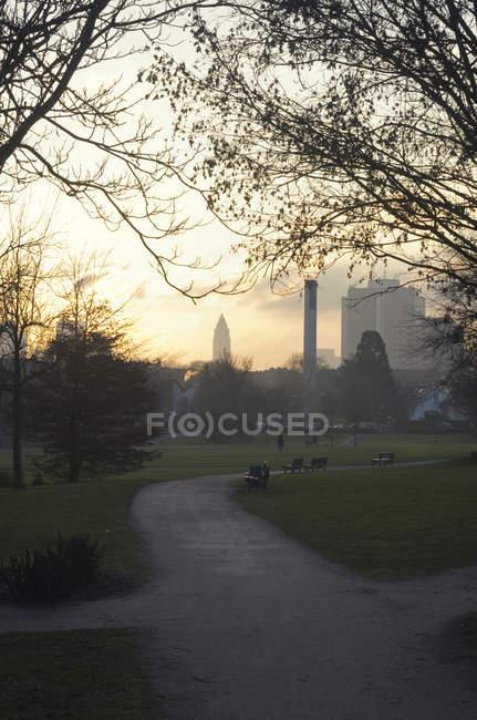 Vue sur parc avec Messeturm à l'arrière-plan, Francfort, Allemagne — Photo de stock