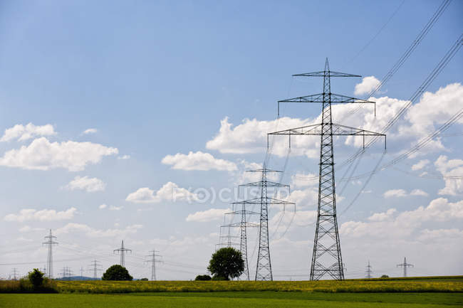 View of electricity pylons at daytime, Germany, Bavaria — Stock Photo