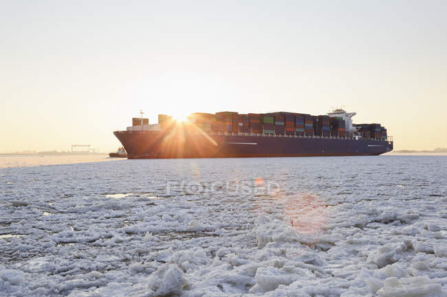 Германия, Гамбург, Контейнерный корабль на льду, покрытый рекой Эльба — стоковое фото