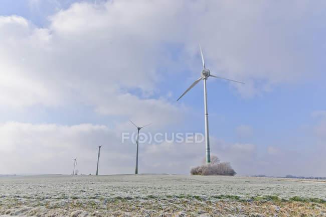 Wind turbines on sea shore — Stock Photo