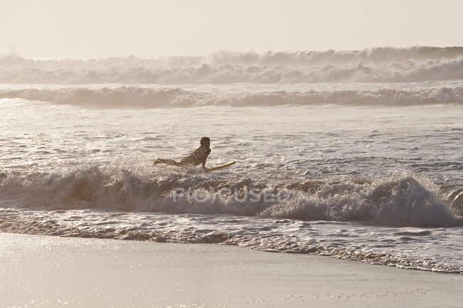 Серфер серфінгу на хвилях — стокове фото