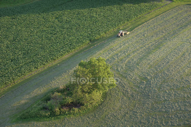 Germany, Bavaria, View of tractor with field and street — Stock Photo