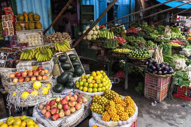 Индия, Уттаракханд, Харидвар, различные фрукты и овощи на рынке — стоковое фото