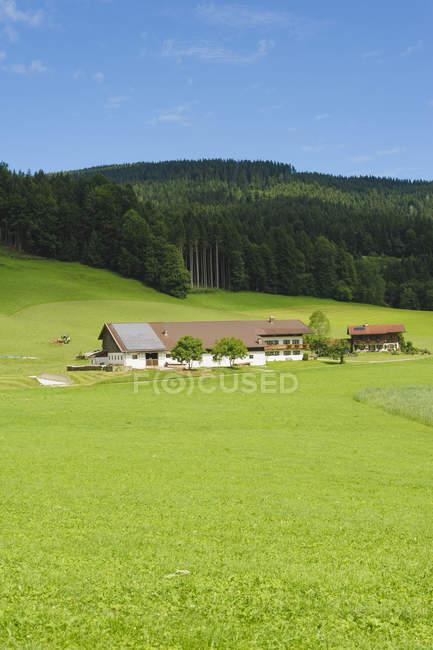 Дневной вид на сельские дома с альпами, Бавария, Германия , — стоковое фото