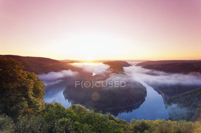 Mountains and River Saar at sunset — Stock Photo