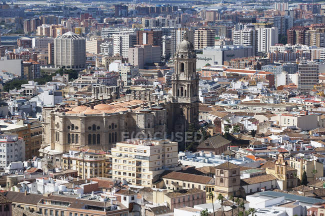 Cityscape and Malaga Cathedral — Stock Photo