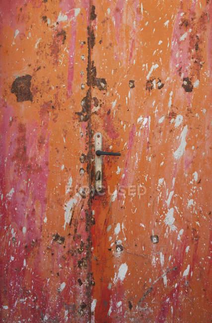 Croatia, Closed rusty door at Baska town — Stock Photo