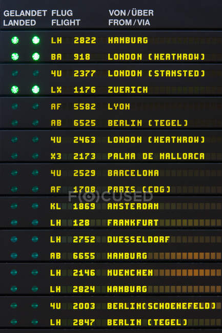 Arrival And Departure Board In Airport In Stuttgart Baden Wurttemberg Germany Annunciator Panel Communication Stock Photo 183334118