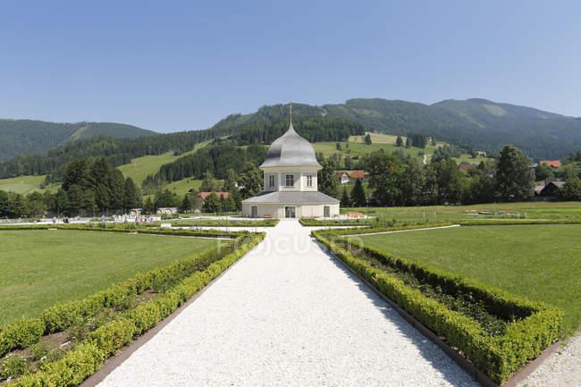 Saint Lambrecht Abbey at pavillon — Stock Photo