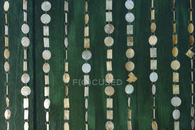 Nahaufnahme der Perlmutt-Dekoration auf dunkelgrüner Tür — Stockfoto