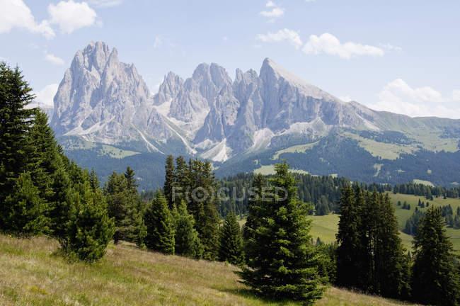 Italie, Vue du Mont Seuc vers Langkofel et la montagne Plattkofel au Tyrol du Sud — Photo de stock