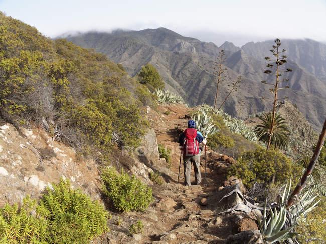 Spain, La Gomera, Woman hiking at Barranco de la Laja — Stock Photo