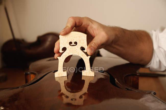 Male hand making violin — Stock Photo