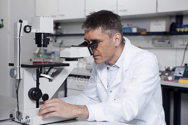Scientist working with microscope — Stock Photo