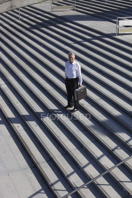 Businessman standing on stairs with briefcase, portrait — Stock Photo