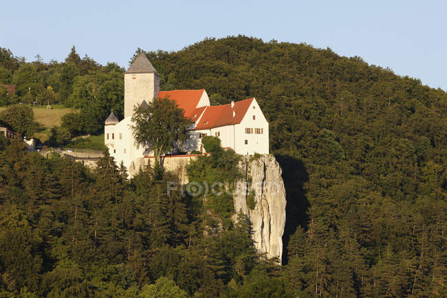 Замок Прунн на скале в лесу — стоковое фото