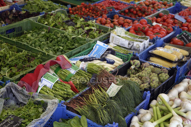 Germany, Bavaria, Munich, Viktualienmarkt, Variety of salads and vegetables at market stall — Stock Photo