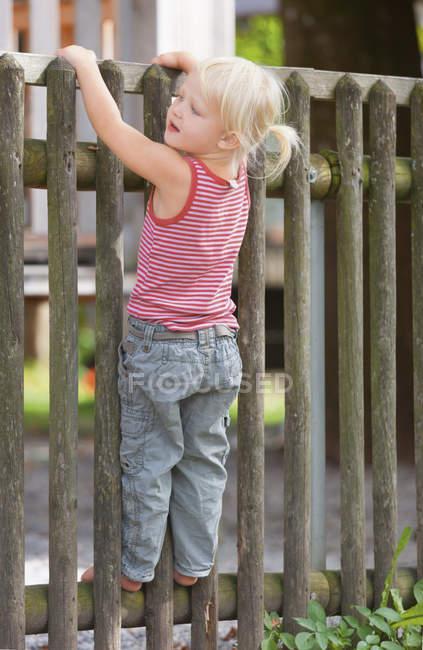 Девушка, стоящая на деревянном заборе — стоковое фото