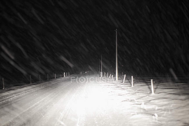 Snow on road in night in Bavaria, Germany — Stock Photo