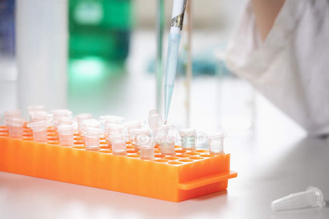 Scientist filling test tubes with pipette — Stock Photo