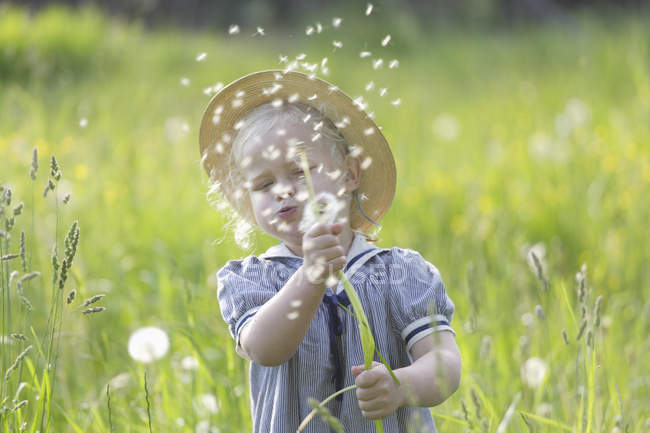 Girl blowing dandelion seeds in air — Stock Photo