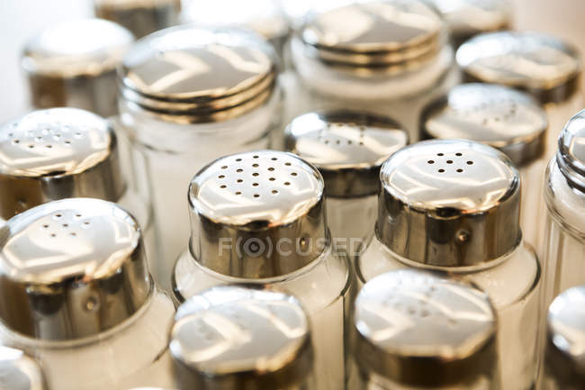 Group of salt shakers, close up — Stock Photo